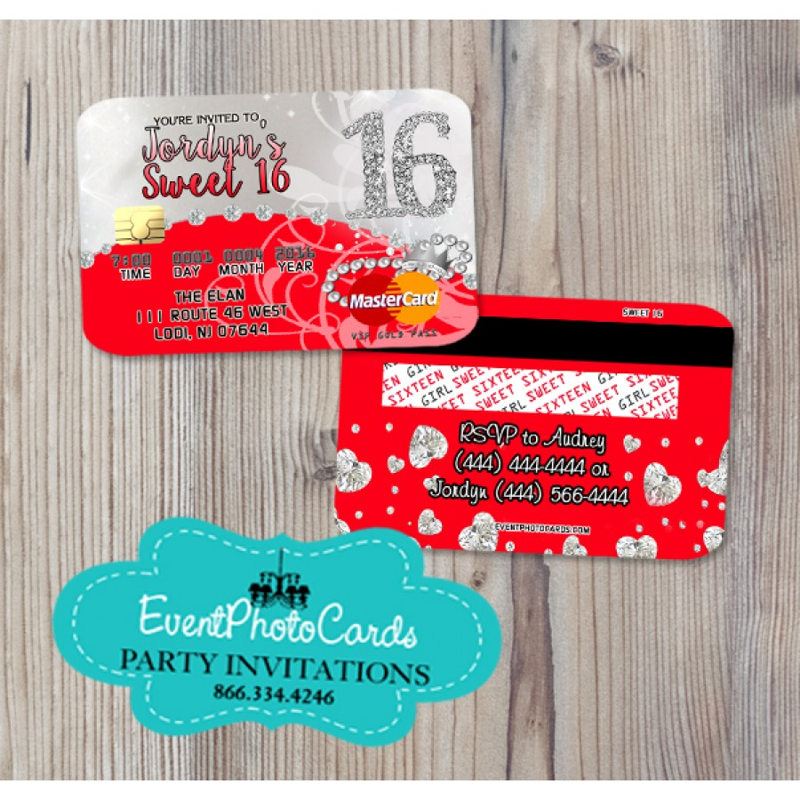 Bling Red Sweet 16 Invitations - Credit Card Invites