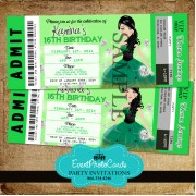 Green Diamond Sweet 16th Ticket Invitations