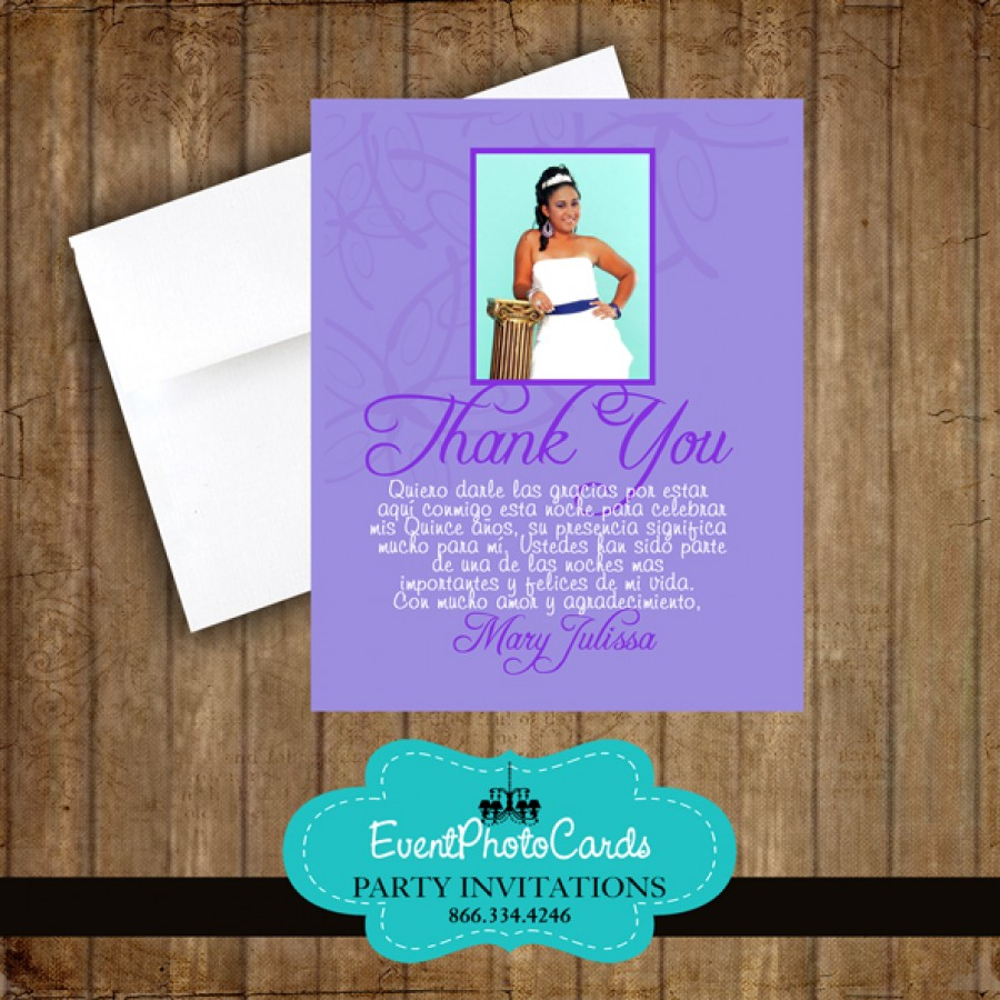 Purple Lavender Thank You Card Quinceanera