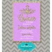 Lavender & Gold 15th Birthday Invitations - Chandelier