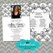 Black & White Quinceanera Invitations B
