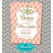 Coral Gold Quinceanera Invitations
