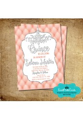 Coral and Silver Quinceanera Invitations A