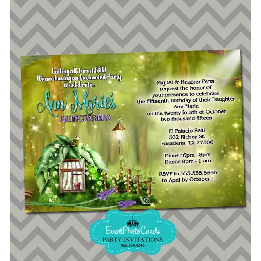 Enchanted Forest Sweet 15 Invitations 15th Birthday Party Invites
