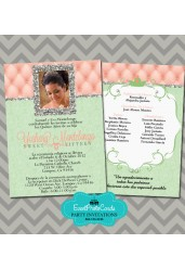 Coral and Mint Green Quinceanera Invitations