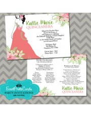 Coral and Mint Green Sweet Fifteen Invitations