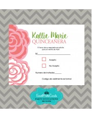 Mint Green & Coral Theme RSVP - Floral Pink