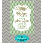 Mint Green Gold Quinceanera Invitations