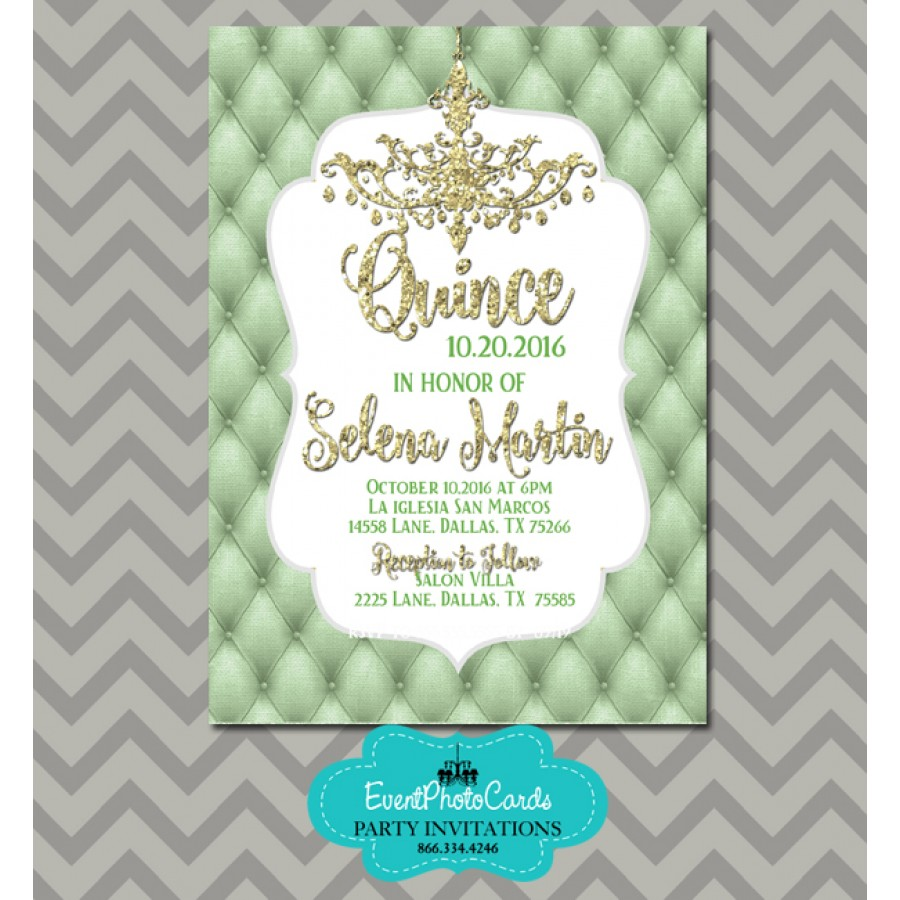 mint green gold quinceanera invitations sweet 15th birthday