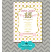 Pink Blush Gold Quinceanera Invitations