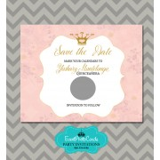 Pink and Gold Save the Date Quinceanera Princess - Scratch Off
