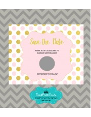 Pink and Gold Dots Save the Date Blue - Scratch Off