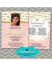 Princess Pink & Gold  Quinceanera Invitations