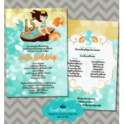 Under the Sea Quinceanera Invitations Turquoise