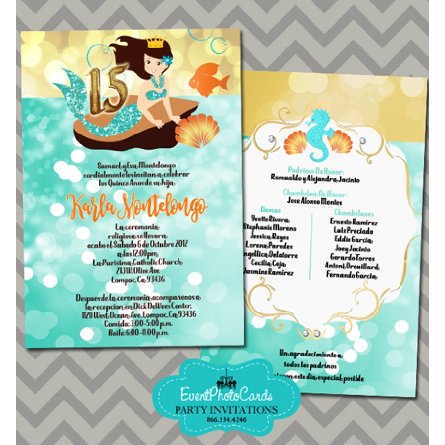under the sea quinceanera invitations turquoise   15th birthday invites for sweet 15 party