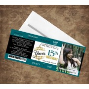Dark Green & Green Quinceanera Ticket Invitations