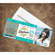 Mint & Silver Quinceaenera Invitations  - Ticket