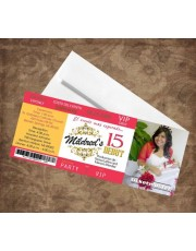Gold & Red Quinceanera Invitations Ticket