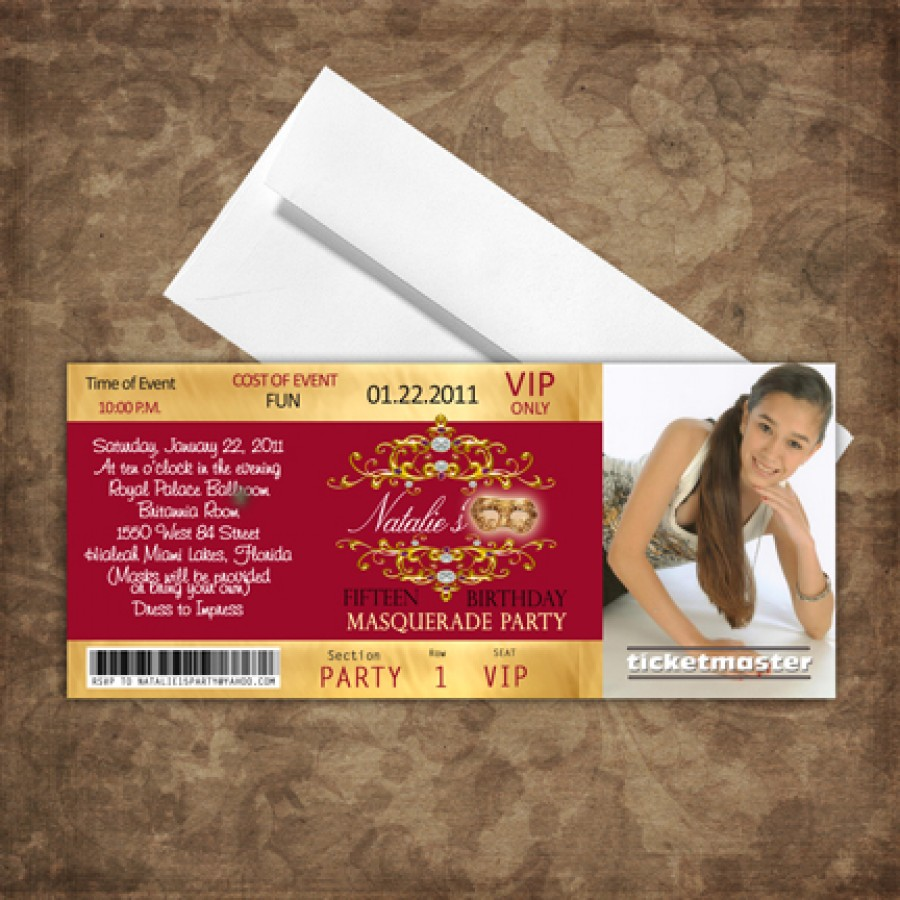 Gold & Wine Quinceanera Vip Pass Ticket Invitations