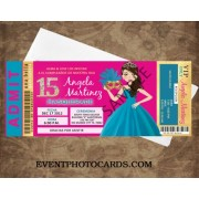 Aqua & Fuschia Gold Ticket Invitations - Quinceanera