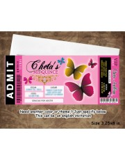 Butterfly Ticket Quinceanera Invitation Pass