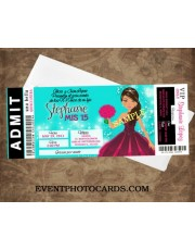 Teal & Fuschia Mis Quince Invitations - Ticket