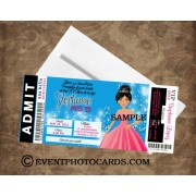 Blue and Pink Quinceanera Pass Invitacion