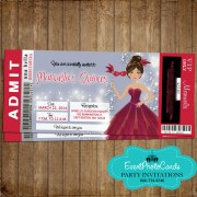 Red Masquerade Ticket Quinceanera Invitations