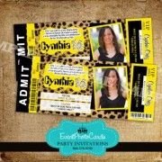 Quinceanera Ticket Invitations Yellow Cheetah
