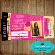 Pink & Gold Masquerade Ticket Quinceanera Invitations