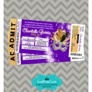 Gold Purple  & Black Invitations Ticket - Masquerade