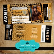Leopard Sweet 15 Invitations  - Tickets