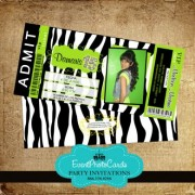 Lime Green Zebra Quinceanera Invitations