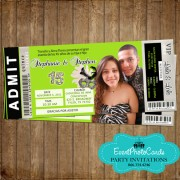 Lime Green 15 Ticket Twin Quinceanera Invitations