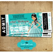 Mint Magical  Sweet 16 Pass Invitacion
