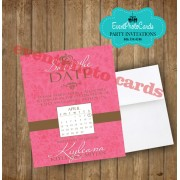 Modern Save the Date - Pink Quinceanera