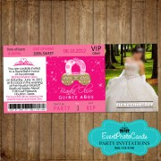 Pink Carriage Princess  Ticketmaster Quinceanera Invitations