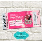 Pink & Silver Mask Invitations Ticket - Birthday