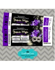 Purple  & Black Invitations Ticket - Sweet 16