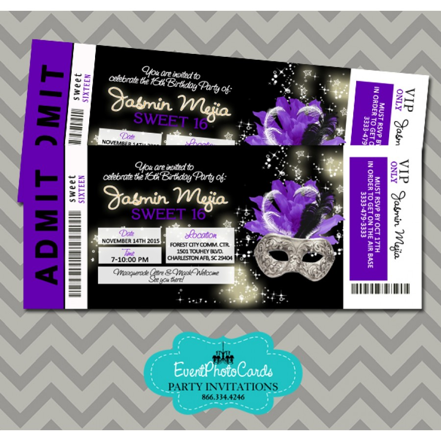 Sweet 15th Masquerade Purple & Black Invitations Ticket