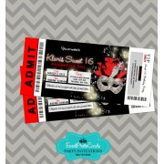 Silver Red & Black Invitations Ticket - Masquerade