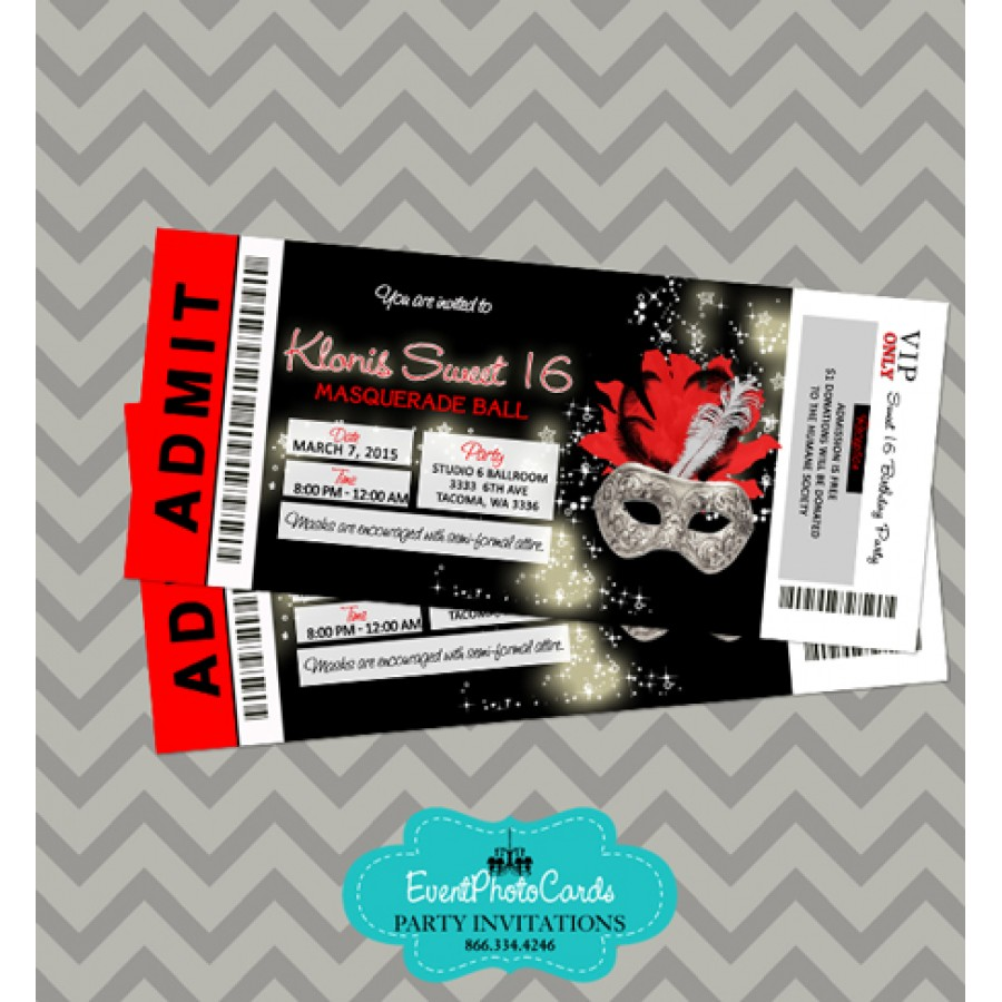 Silver Red Black Invitations Ticket