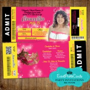Quinceanera Ticket Invitation Yellow & Pink