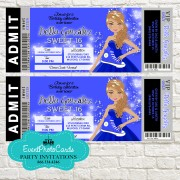 Royal Blue Ticket Invitations - Sweet 16