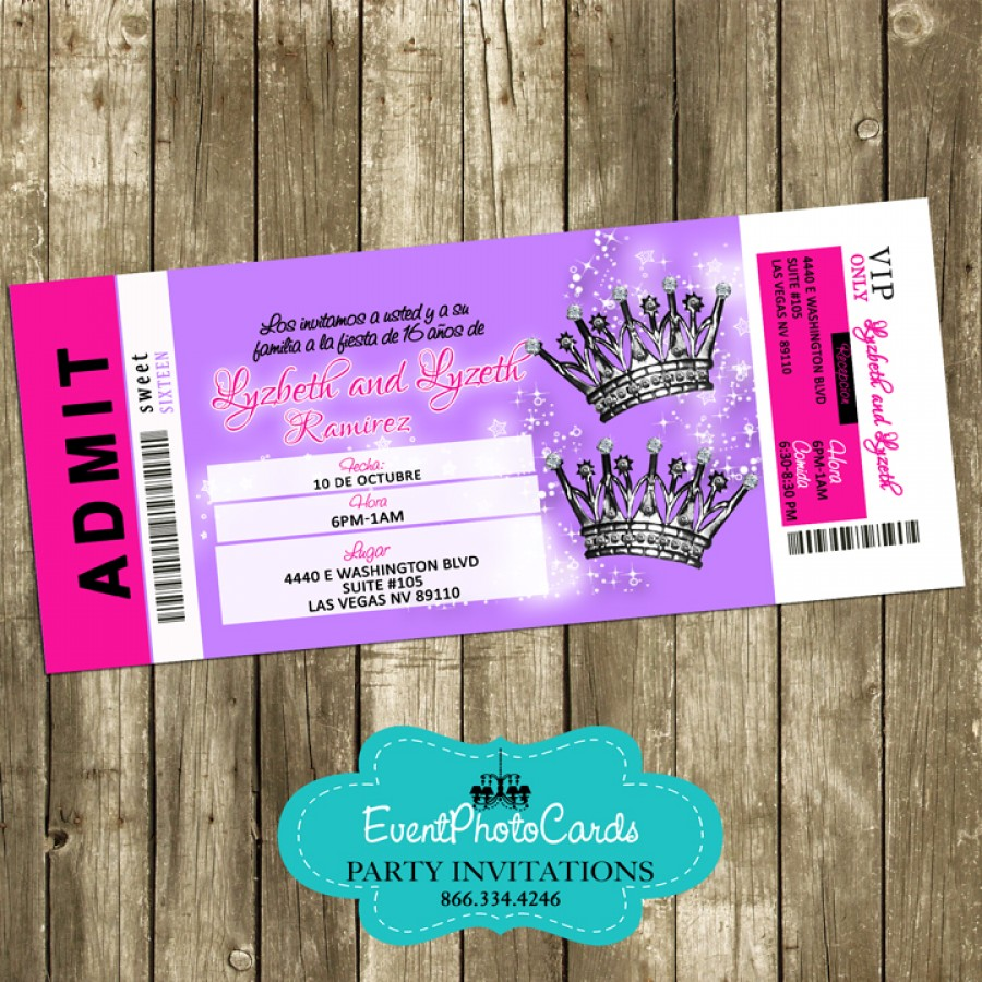Twin Birthday Quinceanera Ticket Invitations - Pink Teen Party Invites