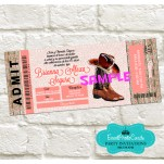 Western Rustic Ticket Invitations