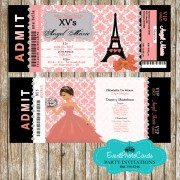 Paris Eiffel Tower Invitations -Light Coral - Sweet Fifteen Quinceanera