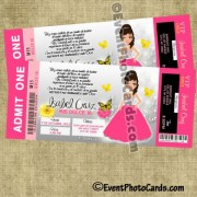 Pink & Yellow Butterfly Ticket Invites