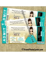Teal Gold Sweet Fifteen Invitations