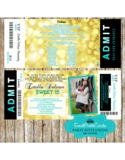 Teal Gold Sweet Fifteen Birthday Party Ticket Bokeh